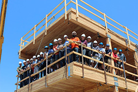 group in building under construction