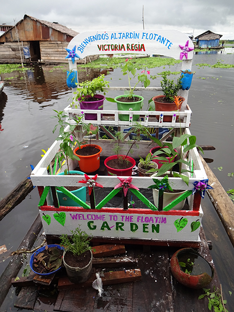 photo of a cheerfully decorated floating garden