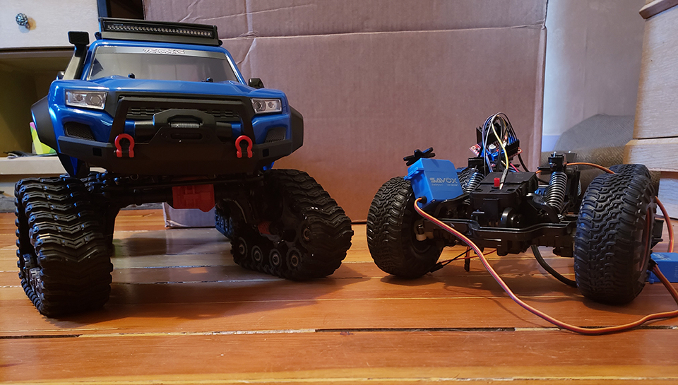 prototypes of two remote-controlled sensing vehicles