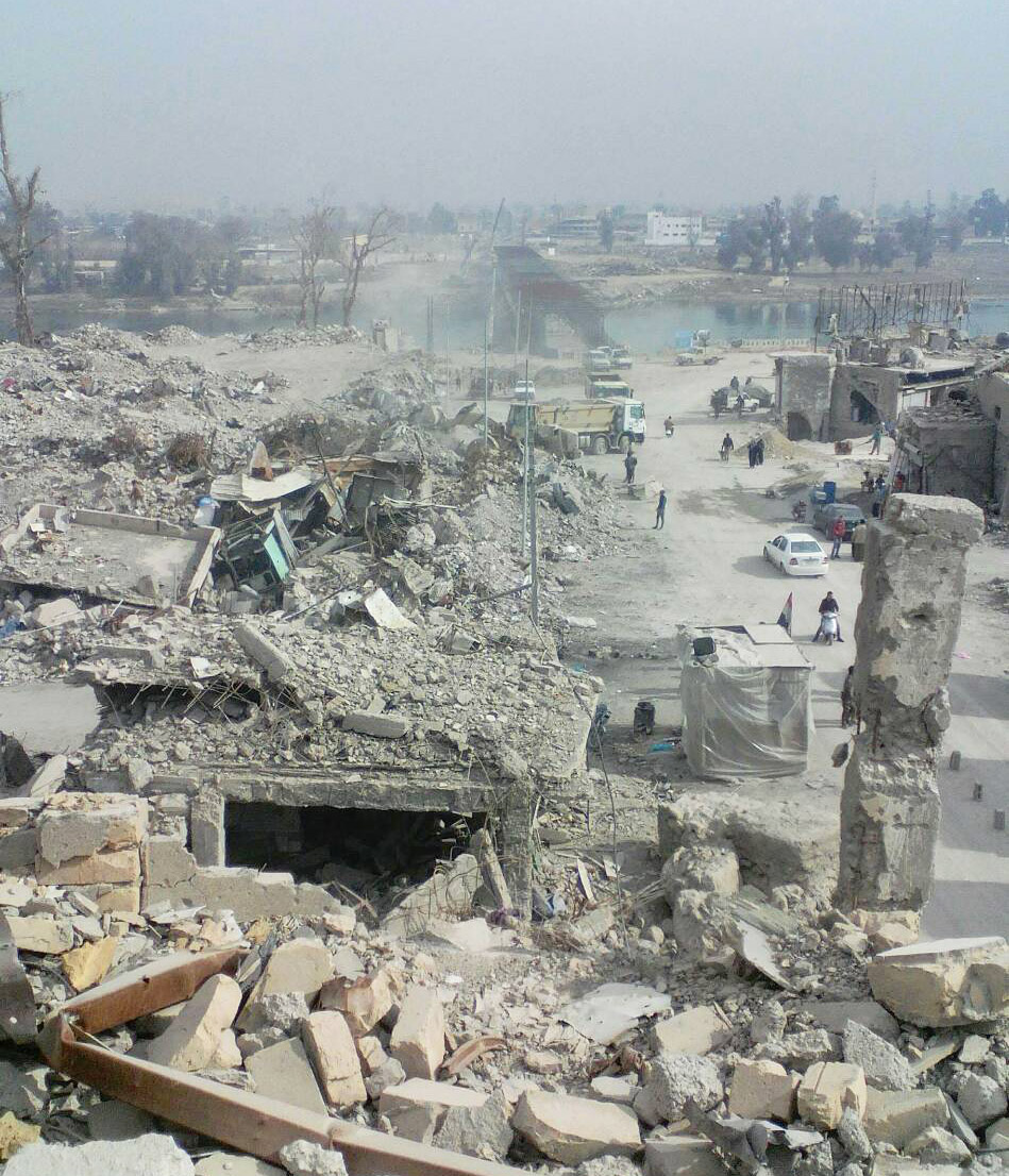 photo of badly destroyed West Mosul