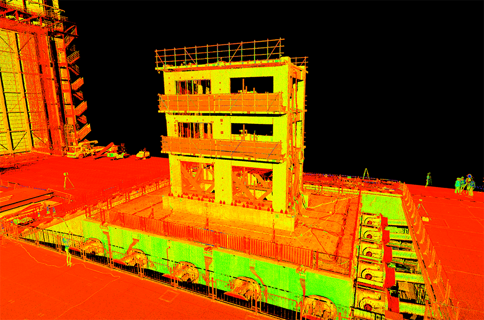 3d point cloud image showing the shake table in orange and yellow