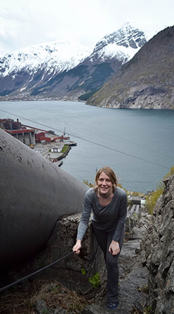 Geotechnical and geoenvironmental engineering master's student Katie Price in Norway.