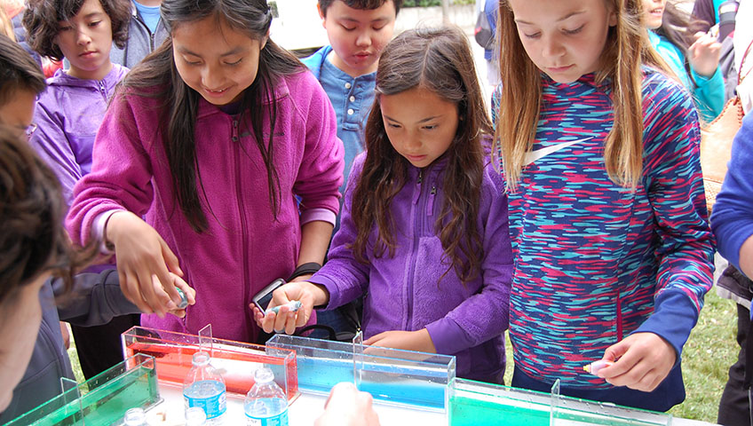children engaged in discovery days experiment