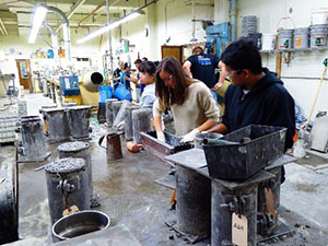 students preparing molds