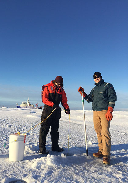 researchers measuring ice