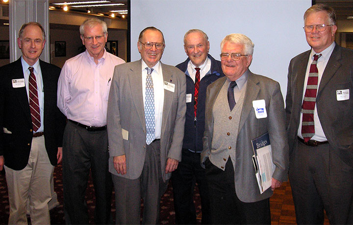CEE faculty members Stephen Burges, Scott Rutherford, Ron Nece, Joe Colcord, Colin Brown and John Ferguson, from left, at the ASCE Seattle Section Meeting in January 2006