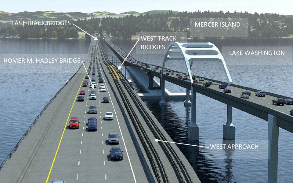 proposed location of light rail on the I-90 bridge