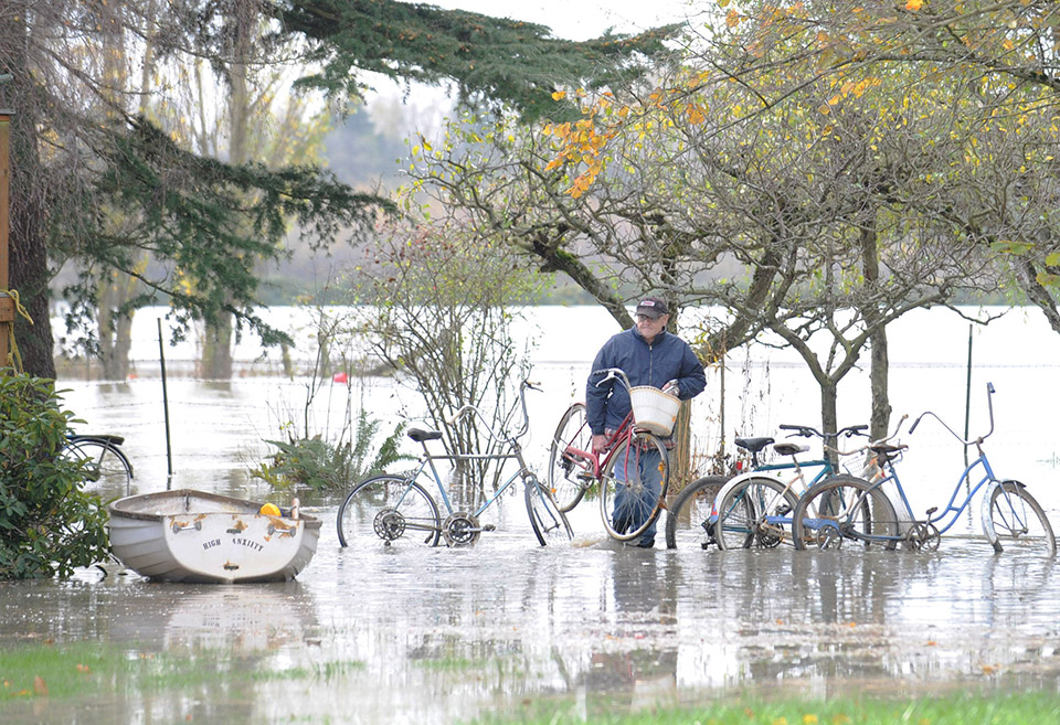 researcher walking through flooded area