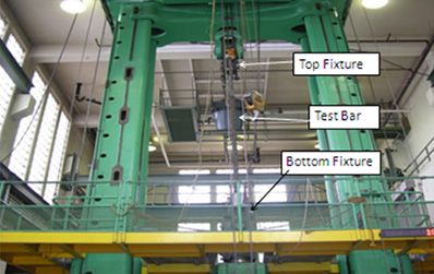 Tension Testing Rods at the Top of the 2,400 kip UTM