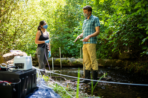 Two researchers standing in a stream while conducting research