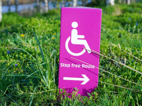 pink sign with person in wheelchair and words 'Step free Route'
