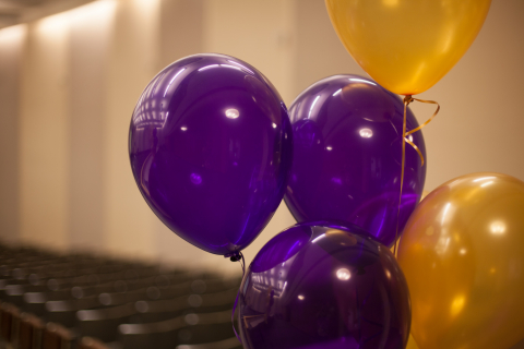 Purple and gold ballons