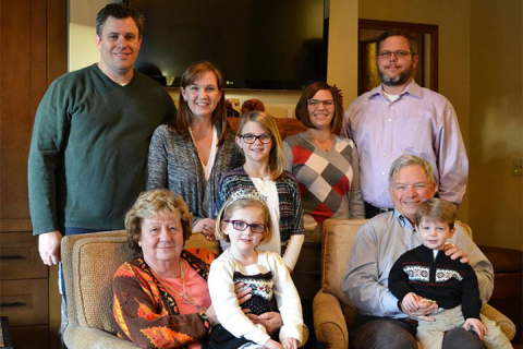 Marilyn and Tom Draeger (seated) with their family
