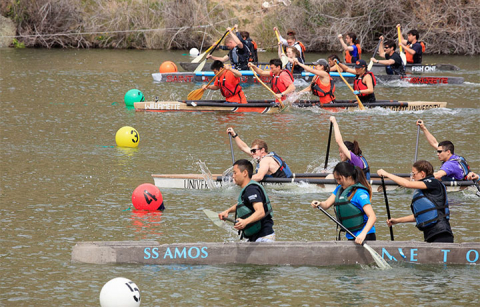 students competing in concrete canoes