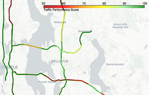 a traffic map of I-5 and I-405